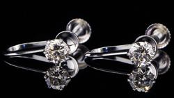 プラチナ合計0.40ctダイヤモンドイヤリング 水平方向で回転(ペア)