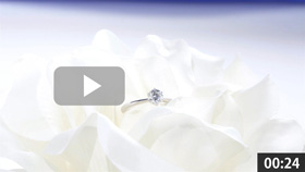 白い花の上のリング