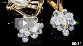 ブリオレットカットの18Kダイヤモンドピアスの商品動画です。複数のダイヤモンドが複雑に輝く様子はとても美しく高級感を感じます。