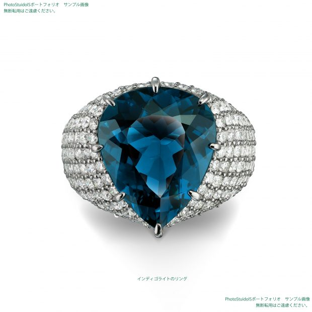 宝石インディゴライトのダイヤモンドリング フォトスタジオISの撮影実績写真サンプル