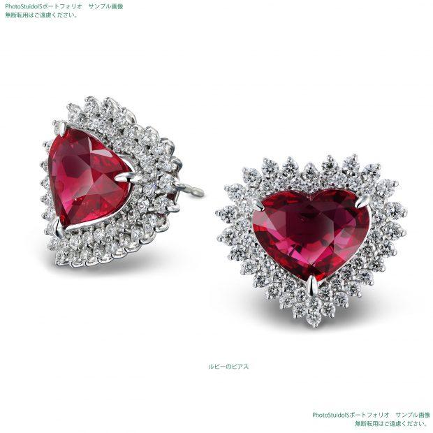 ハートカットの宝石ルビー・ダイヤモンドのピアス フォトスタジオISの撮影実績写真サンプル