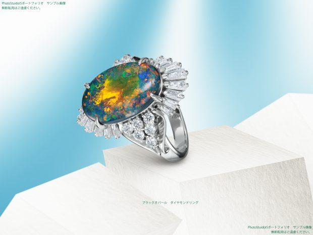 ブラックオパールのダイヤモンドリング フォトスタジオIS 写真サンプル画像