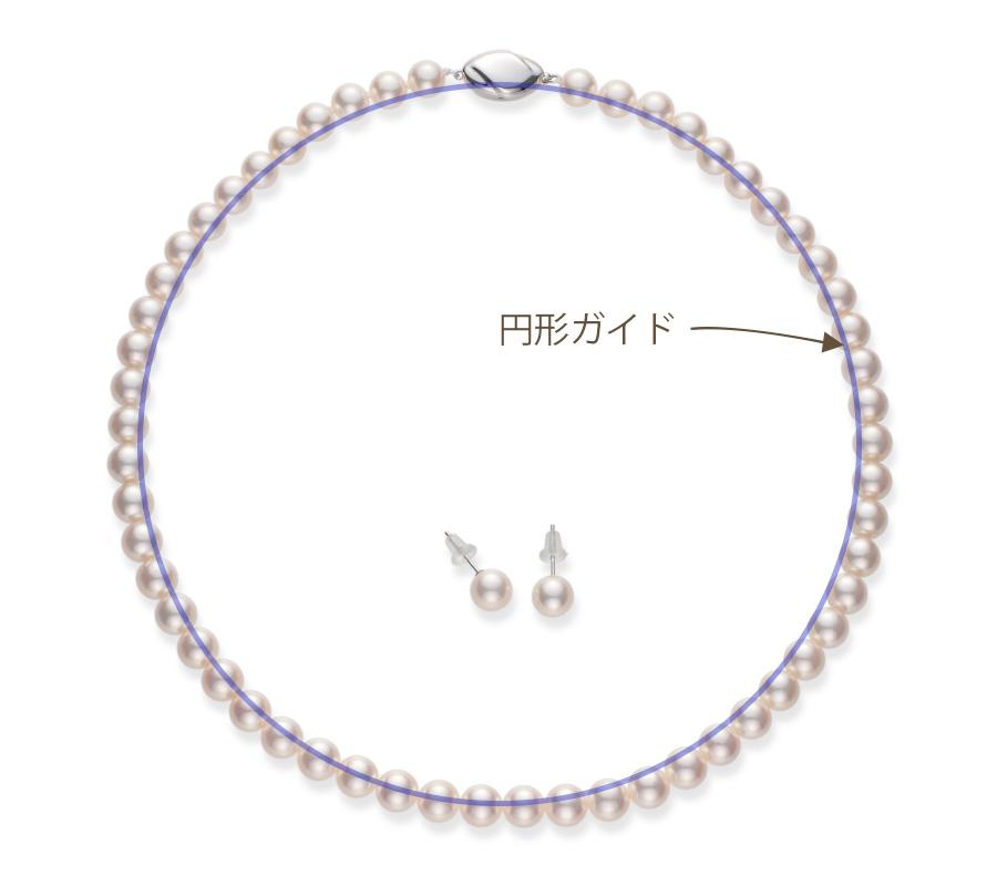 特徴7を示す図。パールネックレスを円形に設置するために、カメラから取得するライブビュー画像に円形ガイドを表示した図。