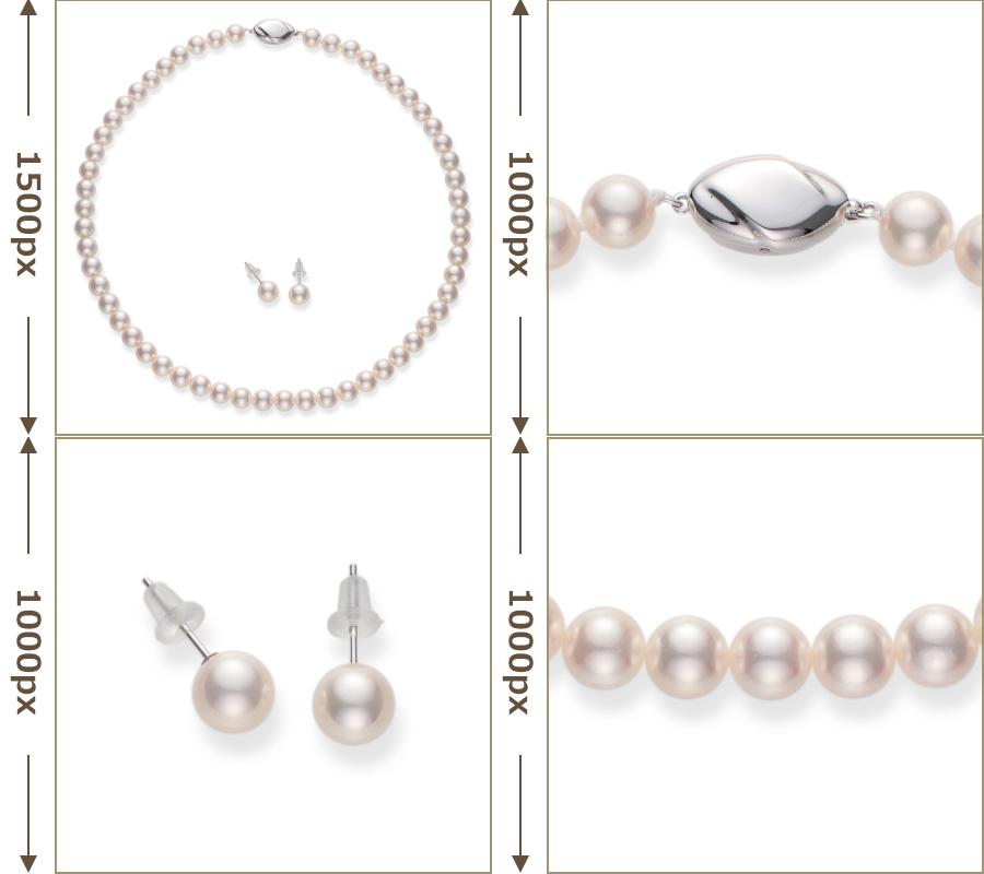 特徴3の写真サイズを示した真珠ネックレスとピアス(イヤリング)の写真4カット。メインの全体画像は1500px。ピアス(イヤリング)、真珠、クラスプの拡大写真は1000px。