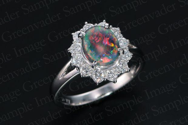 1.3ct 宝石ブラックオパール ダイヤモンドプラチナリング 斜め上方向 黒背景 撮影実績写真サンプル-PhotoStudioIS