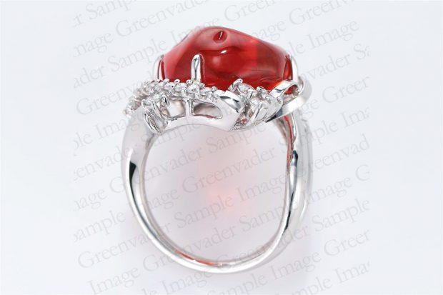 8.45ct 宝石ファイアーオパール ダイヤモンドプラチナリング 俯瞰 撮影実績写真サンプル-PhotoStudioIS