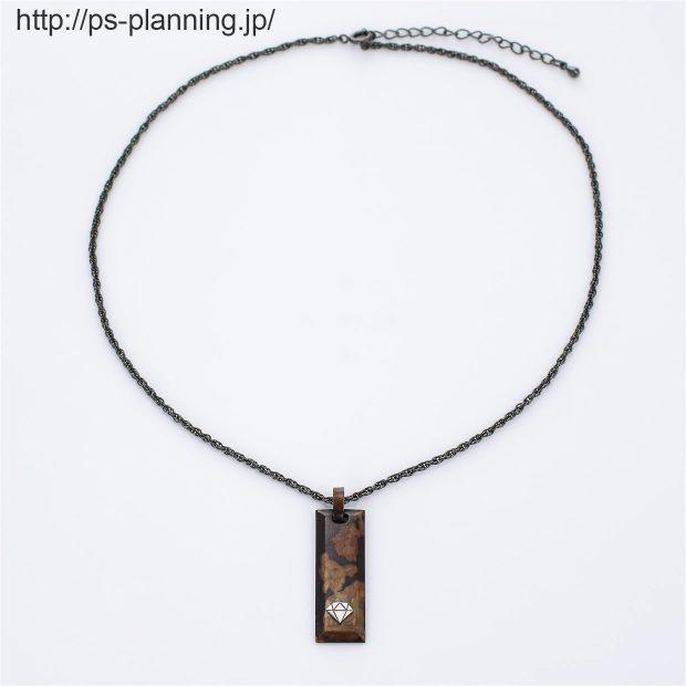 銅板着色茶色系バータイプネックレス 正面