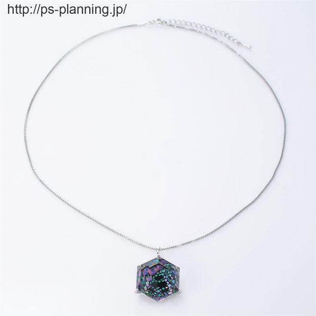 水晶螺鈿 夜空のオーロラをモチーフにしたネックレス 全体