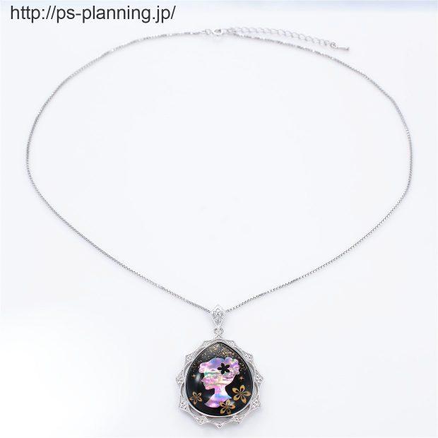 水晶螺鈿 レディーモチーフ黒漆ネックレス 全体