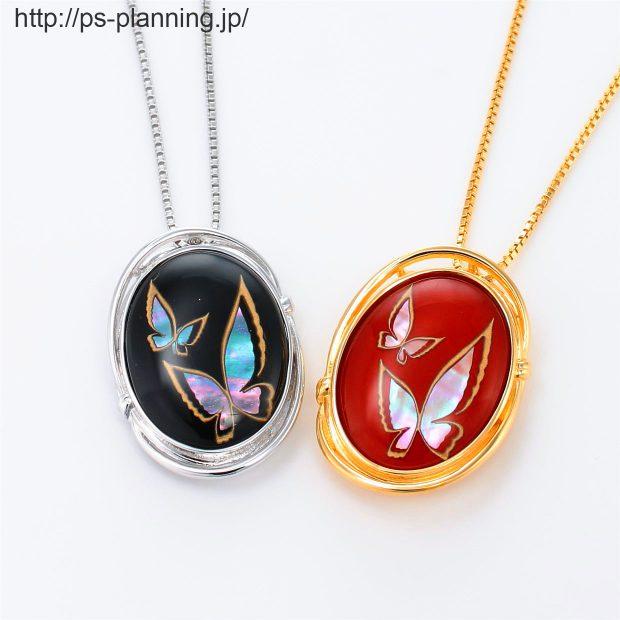 水晶螺鈿 蝶々をイメージした和風ネックレス 2色(赤・黒) 撮影実績写真サンプル-PhotoStudioIS