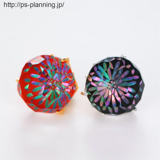 水晶螺鈿 夜空に爆ぜる花火をイメージしたピンズ 2色(赤・黒) 撮影実績写真サンプル-PhotoStudioIS