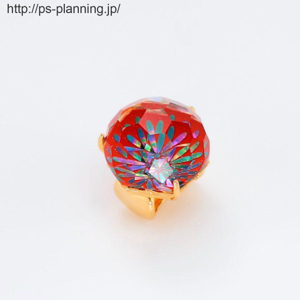 水晶螺鈿 花火をイメージさせる和風帯留め 左斜め