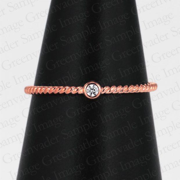 一粒ダイヤモンド スパイラル ピンクゴールドファッションリング コーンスタンド