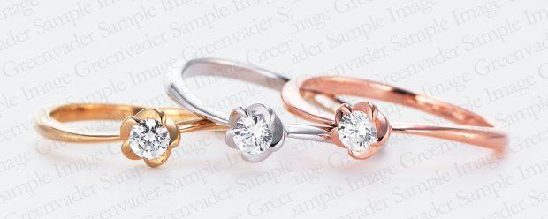 一粒ダイヤモンド フラワーファッションリング ピンクゴールド・ホワイトゴールド・イエローゴールド 撮影実績写真サンプル-PhotoStudioIS