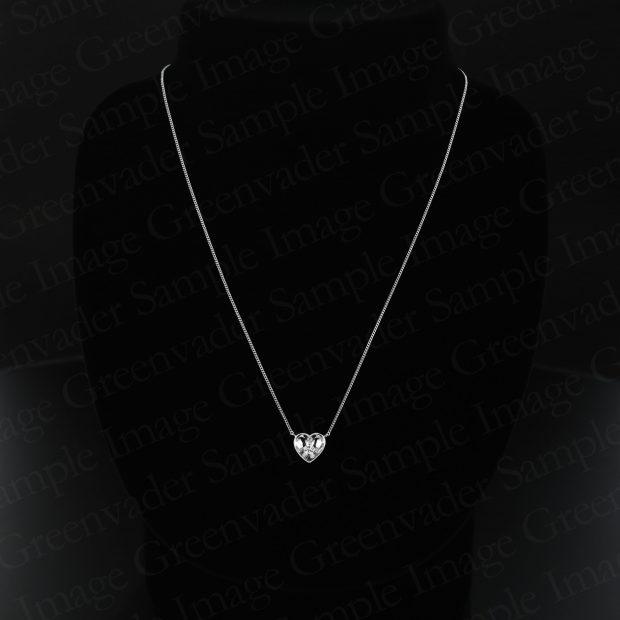 一粒ダイヤモンド ハート型 ホワイトゴールドネックレス トルソー 撮影実績写真サンプル-PhotoStudioIS