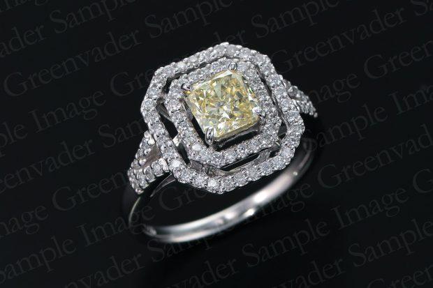 1.09ct イエローダイヤモンド ダイヤモンドプラチナリング 斜め上方向 黒背景 撮影実績写真サンプル-PhotoStudioIS