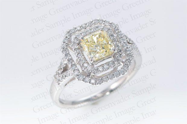 1.09ct イエローダイヤモンド ダイヤモンドプラチナリング 斜め上方向 撮影実績写真サンプル-PhotoStudioIS