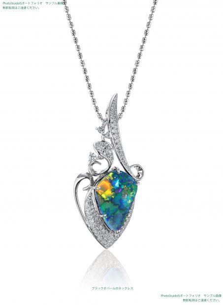 宝石ブラックオパールのダイヤモンドネックレス 撮影実績写真サンプル-PhotoStudioIS