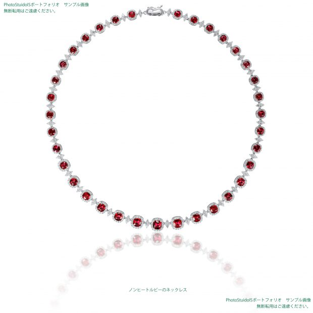 宝石ノンヒートルビーのダイヤモンドネックレス 撮影実績写真サンプル-PhotoStudioIS