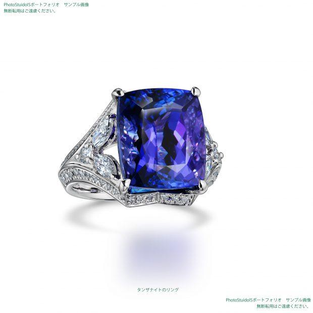 宝石タンザナイトのダイヤモンドリング 撮影実績写真サンプル-PhotoStudioIS